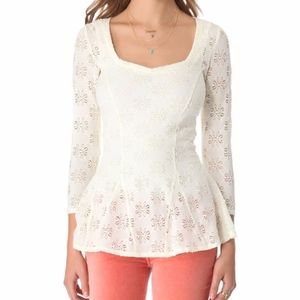 Free People Ivory Sheer Godet Daisy Peplum Blouse